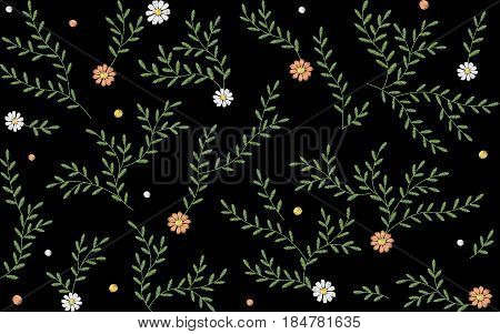 Branches leaves twigs grass herbs seamless pattern. Embroidery vector flower decoration textile print illustration on black background art