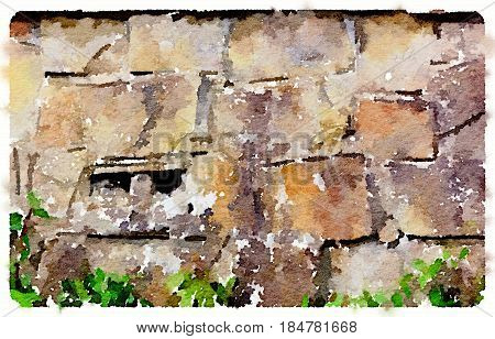Digital watercolor painting of a dry stone wall with green plants in the front and a double hole in the stone. With space for text.