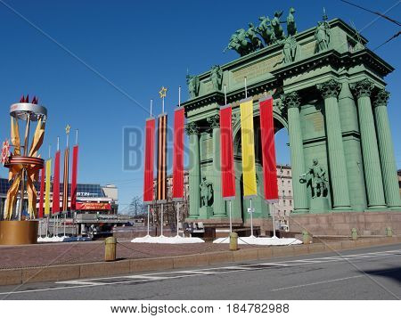 ST. PETERSBURG, RUSSIA - APRIL 28, 2017: Narva Triumphal Arch on Stachek square decorated for Victory Day celebration. The gate was erected in 1814 to commemorate the Russian victory over Napoleon