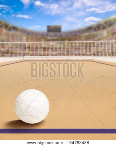 Outdoor beach volleyball arena full of fans in the stands with ball on sand. Deliberate focus on ball and shallow depth of field on background and copy space. 3D rendering of arena.