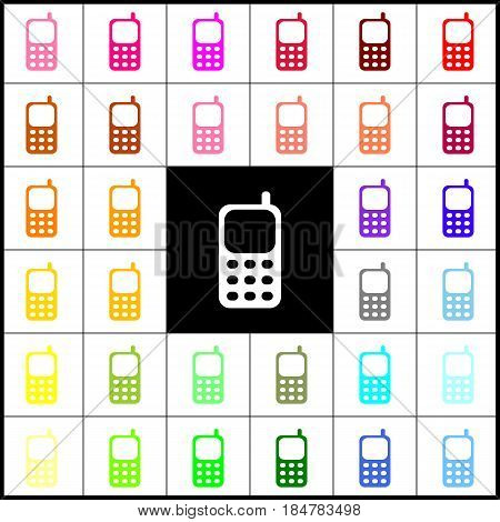 Cell Phone sign. Vector. Felt-pen 33 colorful icons at white and black backgrounds. Colorfull.