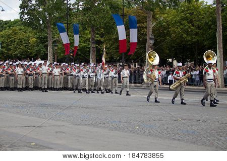 Paris france - July 14 2012. The procession of legionnaires of musicians of the French foreign legion during the military parade on the Champs Elysees in Paris.