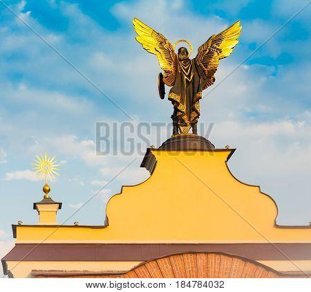 Statue of St. Michael on Independence Square. Kiev. Ukraine.