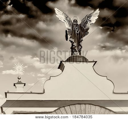 Statue of St. Michael on Independence Square. Kiev. Ukraine. Black and white image.