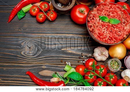 bolognese sauce ingridients on wooden background or table