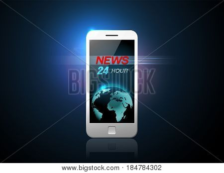 mobile news and mobile phone vector illustration