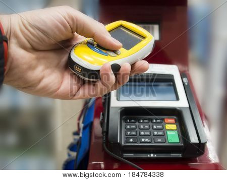 Scanning Device For Grocery And Shopping, Check Out And Paying Time On Self Service Counter.