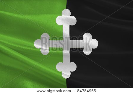 Flag of Bourg-en-Bresse is a commune in eastern France capital of the Ain department. 3D illustration