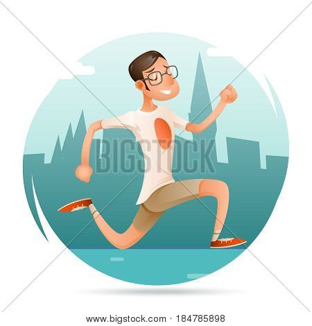 Running Geek Hipster Happy Sport Man Character Icon Retro Cartoon Design Background City Vector Illustration