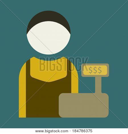 Vector illustration of flat icon man cashier