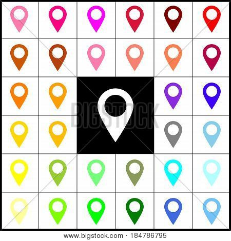Mark pointer sign. Vector. Felt-pen 33 colorful icons at white and black backgrounds. Colorfull.