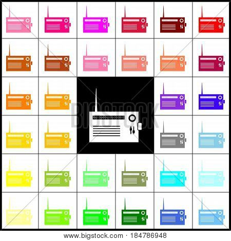 Radio sign illustration. Vector. Felt-pen 33 colorful icons at white and black backgrounds. Colorfull.