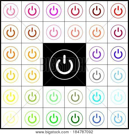 On Off switch sign. Vector. Felt-pen 33 colorful icons at white and black backgrounds. Colorfull.