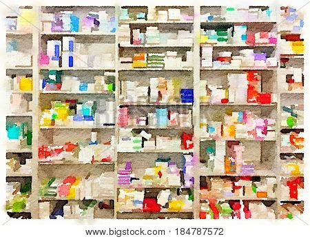 Digital watercolor painting of boxes of medicine on shelves at a pharmacist.