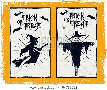Hand drawn textured Halloween card with witch scarecrow and bats illustrations
