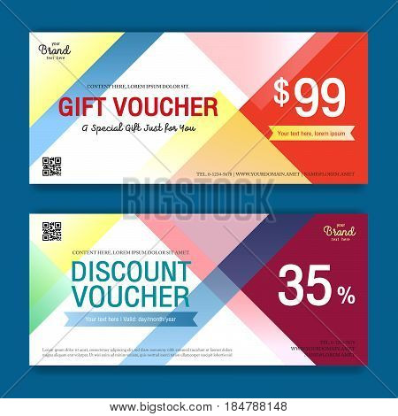 Colorful and modern discount voucher or gift voucher for promo event