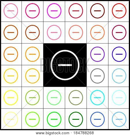 Negative symbol illustration. Minus sign. Vector. Felt-pen 33 colorful icons at white and black backgrounds. Colorfull.