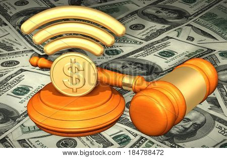 Wifi Symbol With A Dollar Coin Legal Gavel Concept 3D Illustration