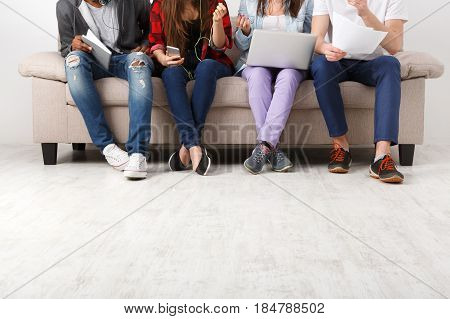 Young business people in casual, crop with copy space, unrecognizable