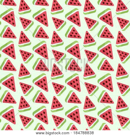 Seamless vector pattern with watermelon slices swatch inside
