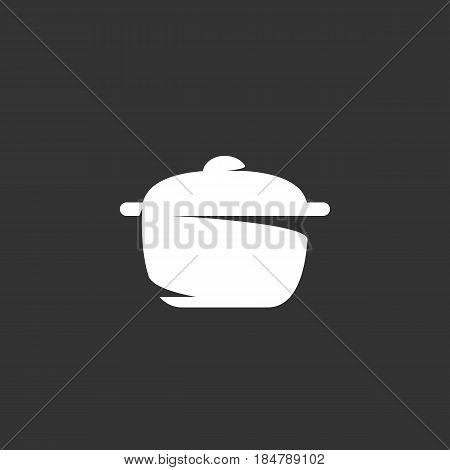 Pan vector logo isolated on a black background. Icon silhouette design template. Simple symbol concept in flat style. Abstract sign pictogram for web mobile and infographics