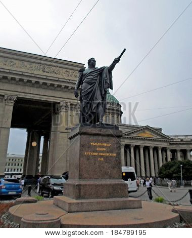 Monument to Kutuzov in St. Petersburg on the Kazan Square near Nevsky Prospekt, Russia - June 2016