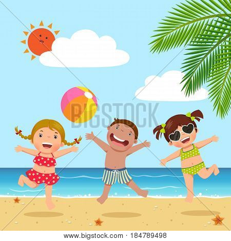 Vector illustration of happy kids jumping on the beach