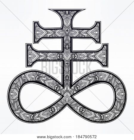 The Satanic Cross, known as the seal of demon Leviathan, ornate alchemy symbol. Talisman magic. Vector illustration isolated. Tattoo design, religion, history, print symbol for occult Gothic themes.