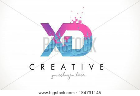 Xd X D Letter Logo With Shattered Broken Blue Pink Texture Design Vector.