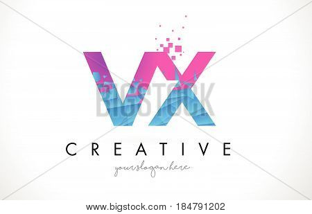 Vx V X Letter Logo With Shattered Broken Blue Pink Texture Design Vector.
