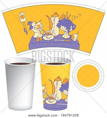 vector template paper cup for hot drink with a still life of crockery and cutlery