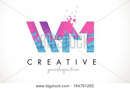 Wm W M Letter Logo With Shattered Broken Blue Pink Texture Design Vector.