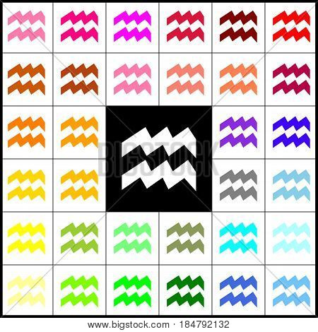 Aquarius sign illustration. Vector. Felt-pen 33 colorful icons at white and black backgrounds. Colorfull.