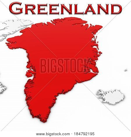 3D Map Of Greenland With Country Name Highlighted Red On White Background 3D Illustration