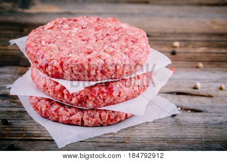 Ingredients For Burgers: Raw Minced Beef Cutlets