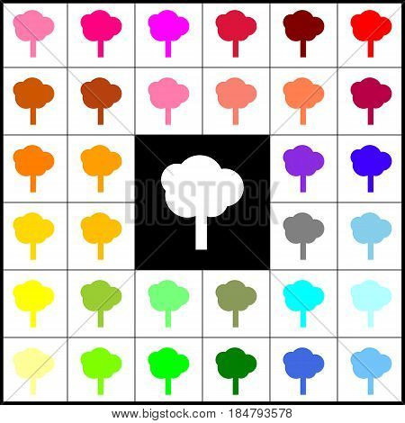 Tree sign illustration. Vector. Felt-pen 33 colorful icons at white and black backgrounds. Colorfull.