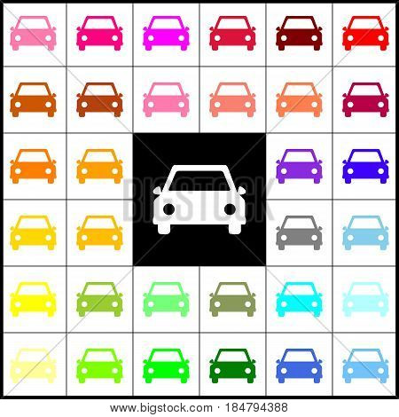 Car sign illustration. Vector. Felt-pen 33 colorful icons at white and black backgrounds. Colorfull.