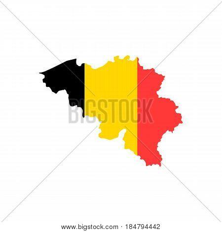 Belgium falg map isolated on white background