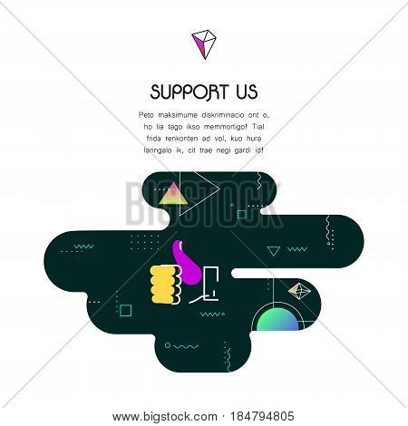 Trendy vector geometric 80-90-style page website template, with donation and support icon and text, to donate for projects and developers