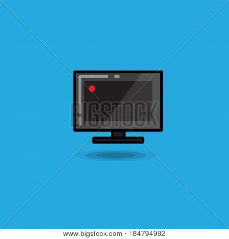 Vector illustration computer monitor on blue background. Illustration computer monitor screen icon isolated