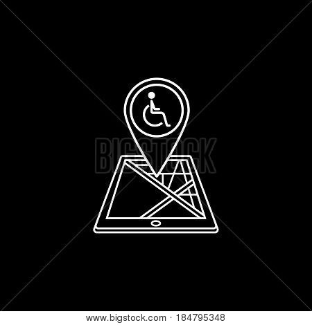 Invalid map pointer line icon, mobile gps navigation and location, disability pin on tablet vector graphics, a linear pattern on a black background, eps 10.