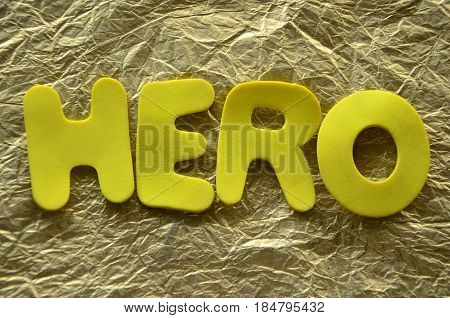 word hero on a  abstract colorful background