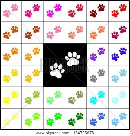 Animal Tracks sign. Vector. Felt-pen 33 colorful icons at white and black backgrounds. Colorfull.