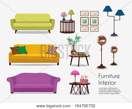 Interior. Sofa sets and home accessories. Furniture design. Sofas with pillows, lamps, pictures.