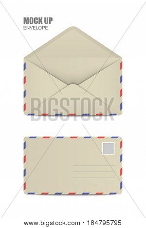 Ocher Open and close Empy Envelopes. Template for Your Business. Vector illustration
