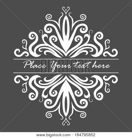 Hand drawn vingette. Vector ornate illustration on gray background.