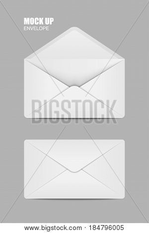 Blue Open and close Empy Envelopes. Template for Your Business. Vector illustration