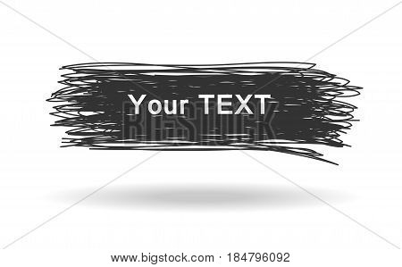 Hand drawn black rectangle. Grunge design banner. Vector illustration
