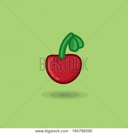 Vector illustration ripe cherry berries on a green background. Illustration of cherry berries on a branch icon isolated