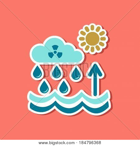 paper sticker on stylish background Radioactive cloud and rain